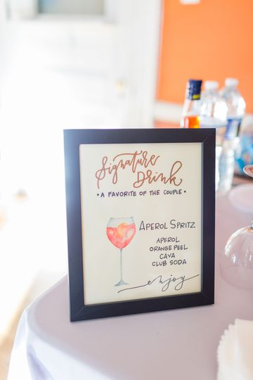 Signature cocktail menu