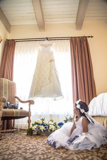 Admiring a wedding dress