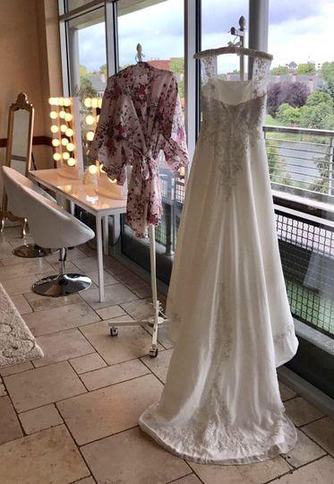 Hallway turned into bridal suite