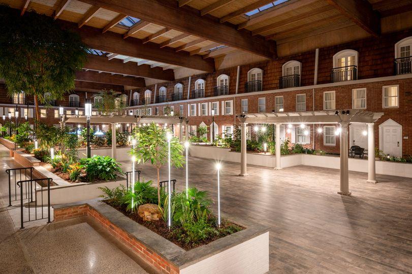 Indoor courtyard at night