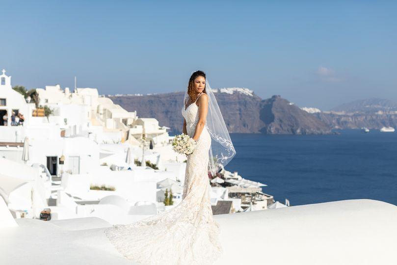 Bride in Oia village