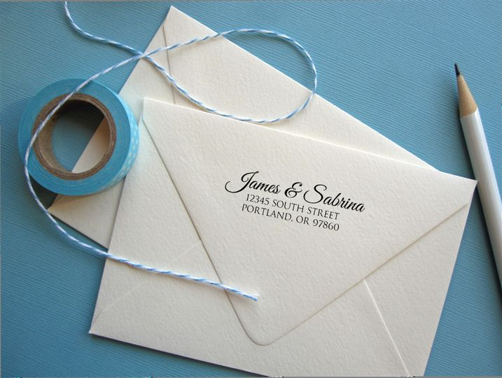 This elegant stamp will save you a lot of time on your invitations, save the dates, or thank you...