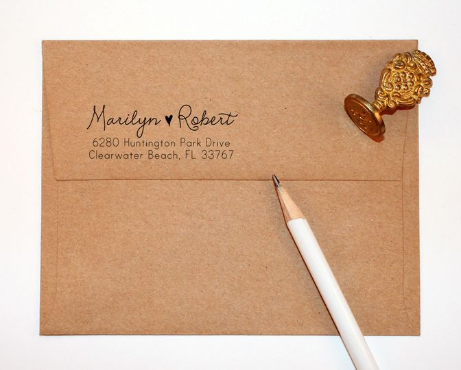 This cute stamp will save you a lot of time on your invitations, save the dates, or thank you notes....