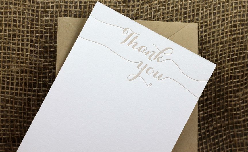 These classic and simple letterpress thank you notes are great for thanking your bridal shower or...