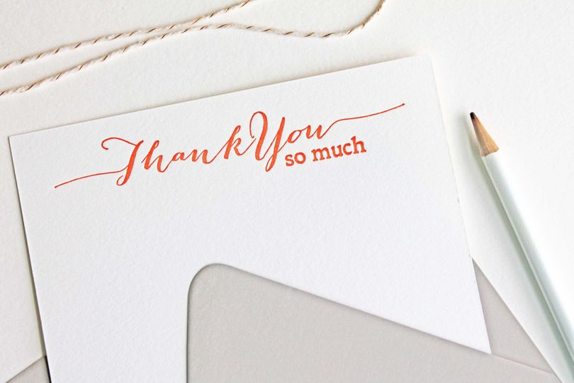 These letterpress thank you notes are great for thanking your bridal shower or wedding guests.