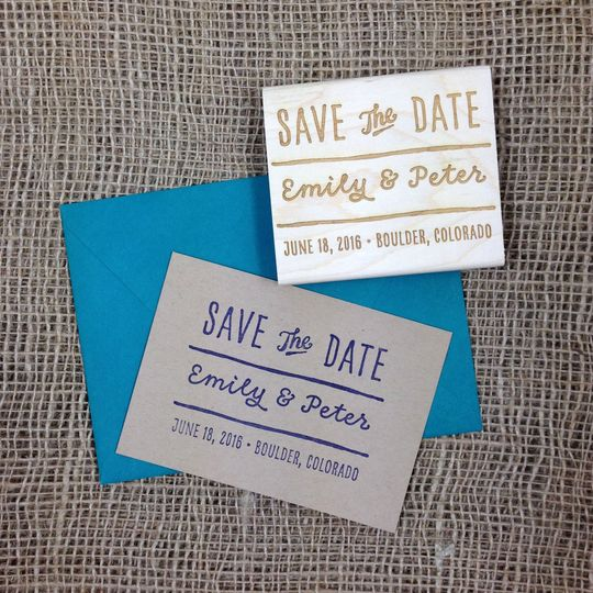 These save the date stamps are great for the DIY couple. You can make as many save the dates as you...