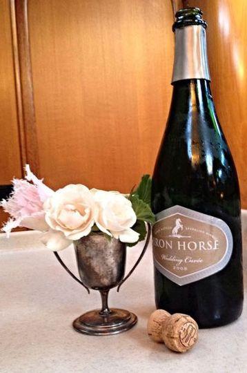 Flower and wine centerpiece