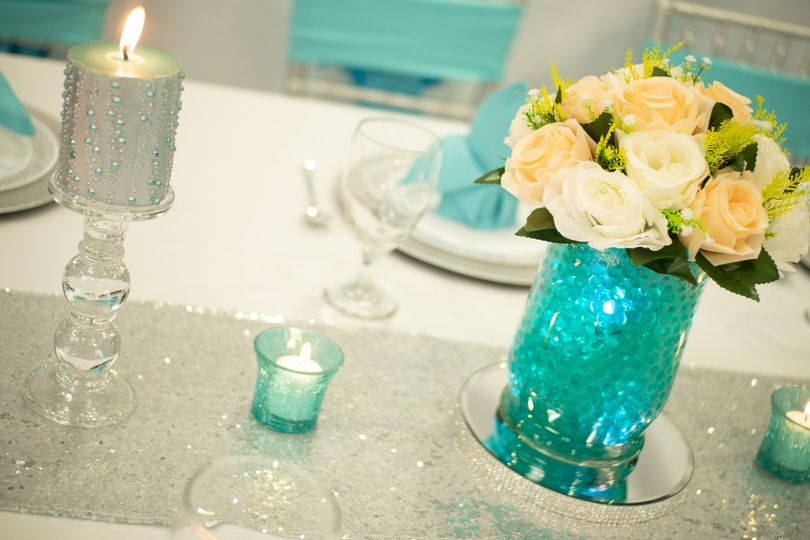 Turquoise glass centerpieces