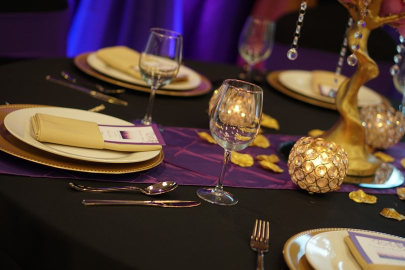 Rich purple table decor