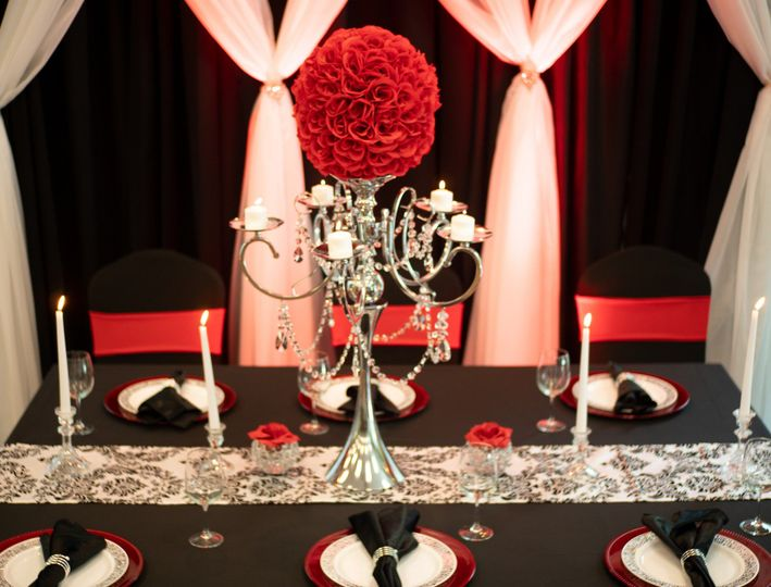 Elegant red and silver candle holder