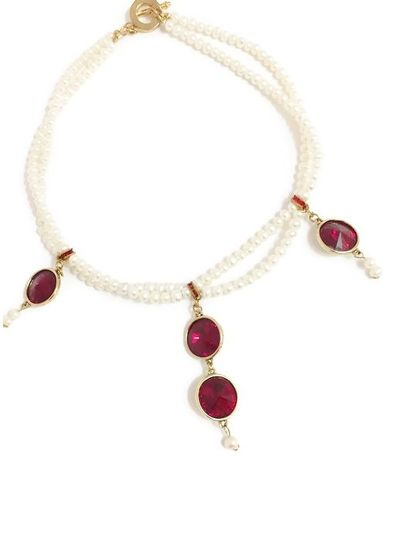 Freshwater pearls with Swarovski crystal rivolis in Siam Red