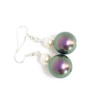 Swarovski pearl earrings in irridescent purple and cream