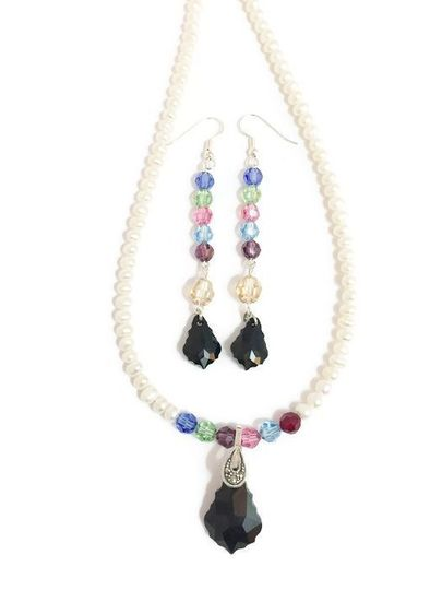 Freshwater pearls with colorful Swarovski crystals