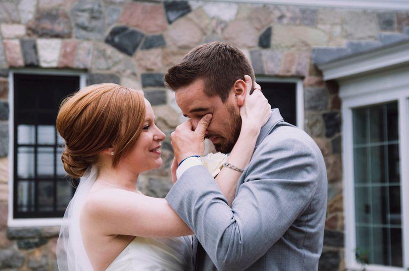First Look: groom's reaction