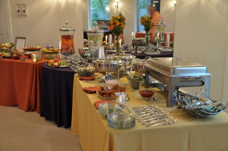 Colorful hors d' oeuvres and drink station set up