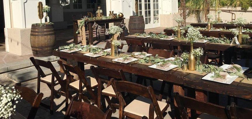 Wooden long table setup