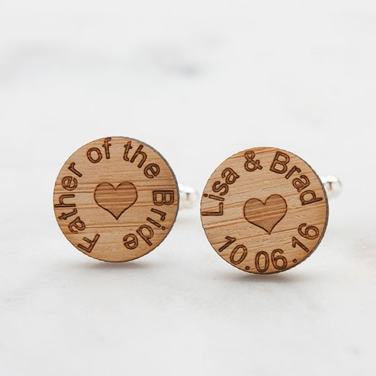 Father of the Bride wedding cufflinks, laser engraved with names of bride and groom with wedding...