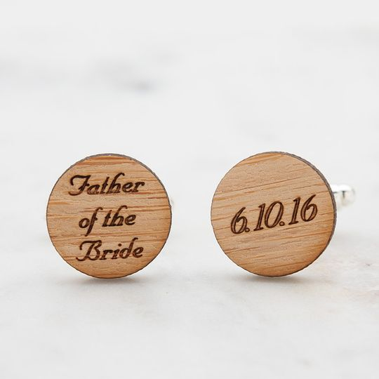 Father of the Bride cufflinks, laser engraved with wedding date on eco-friendly bamboo.  Available...
