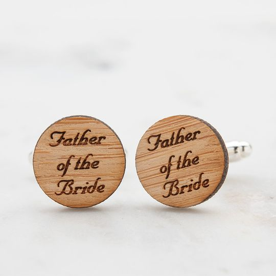 Father of the Bride cufflinks, laser engraved in a script font.  Perfect sentimental gift from bride...