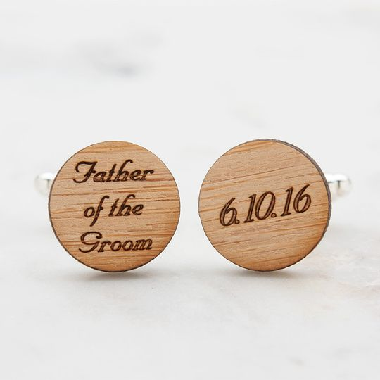Father of the Groom cufflinks, laser engraved with wedding date on eco-friendly bamboo.  Available...