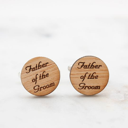 Father of the Groom cufflinks, laser engraved with script font on eco-friendly bamboo.  Available in...