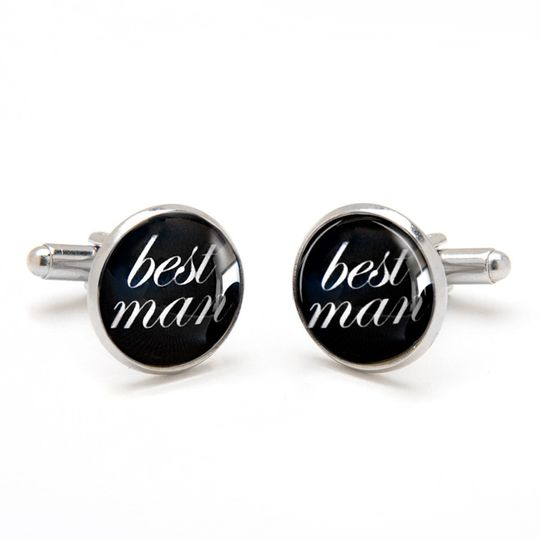 Best Man Cufflinks. Perfect keepsake gift from groom to best man.  Laser printed on a black...