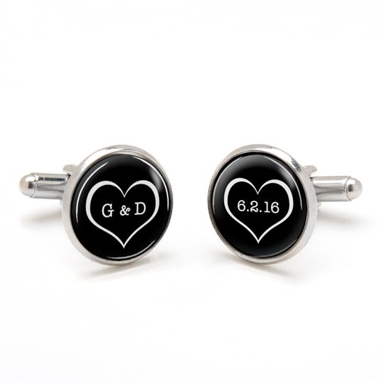 Valentine Heart Cufflinks with monograms and wedding or anniversary date.   Perfect wedding...