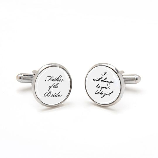 Father of the Bride Cufflinks, I will always be your little girl. Perfect sentimental keepsake gift...
