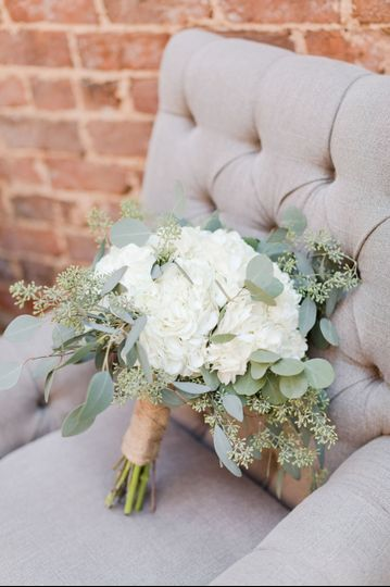 White bouquet on couch