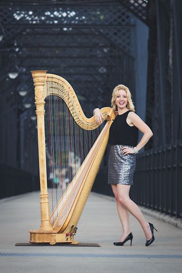 Harpist on the bridge