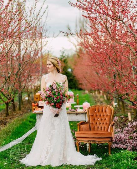 Cherry Blossom styled shoot using Jane pink upholstered chair and Wren farmhouse table.. Photo cred:...