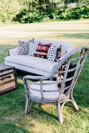 Farmhouse lounge with Aubrey cream sofa and Celeste cage chair. Photo cred: Kelly Clare Photography