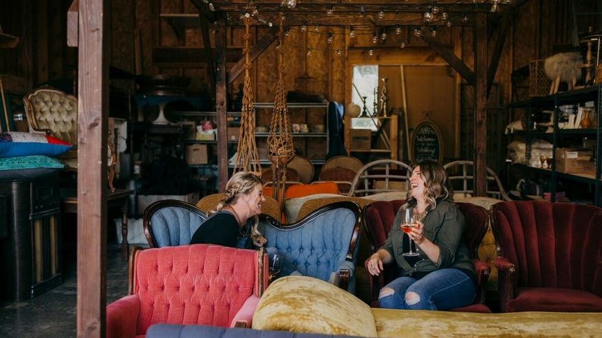 Meet Cara and Sara, owners of Wander Event Rentals, hanging out in the warehouse.