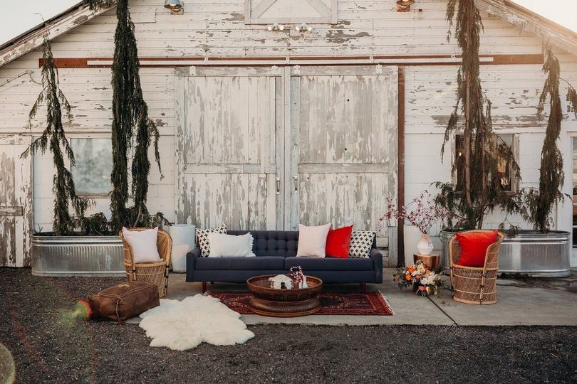 Custom lounge outside of the Dairyland Barn in Snohomish, WA. Photo cred: Carley Jane Photography