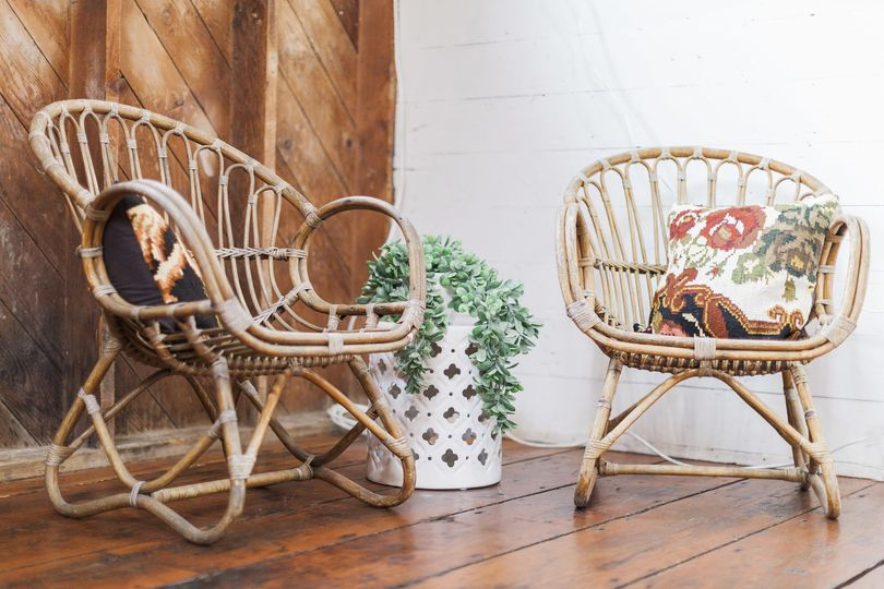 Pair of vintage Franco cane chairs at Woodstock Farms in Bellingham, WA. Photo cred: Jessie Bennet...