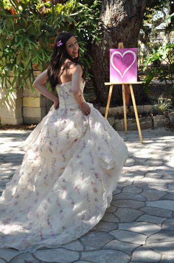 Bride in her wedding gown
