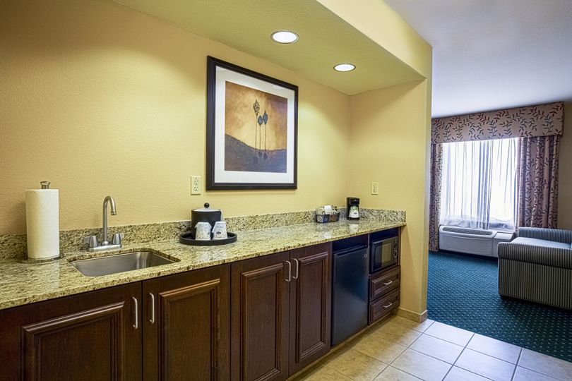 Kitchenette in the King Suite with Mini Refrigerator and Microwave