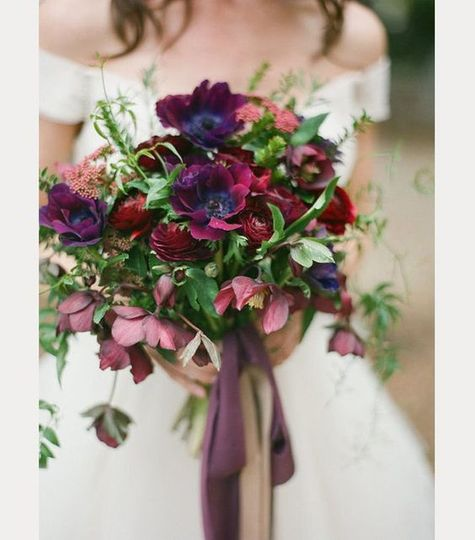 Red, pink and violet flowers