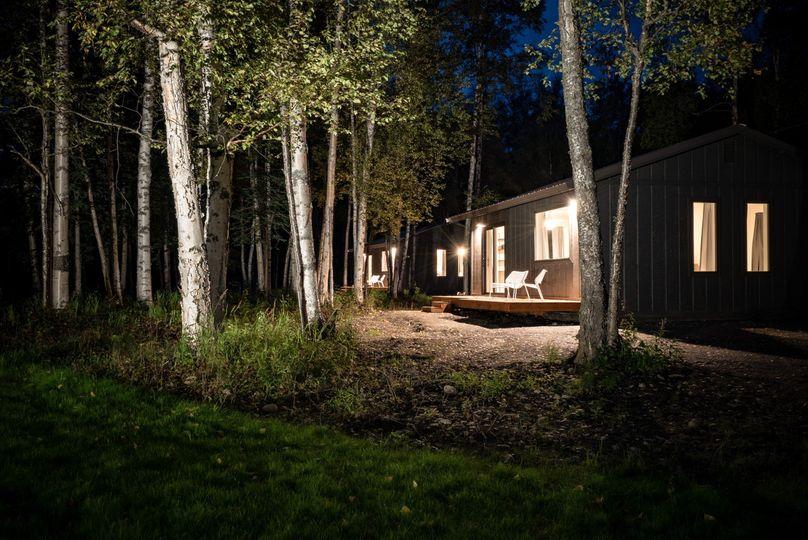 Cabins at night