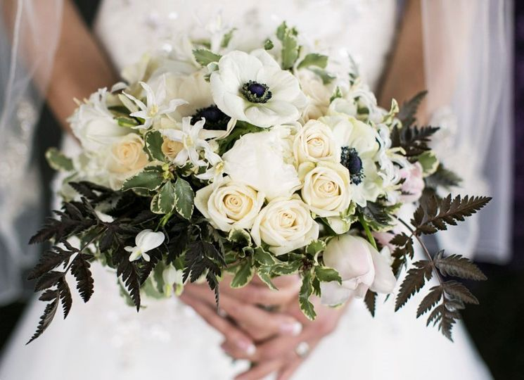 black and white bridal bouquet by vases wild 2