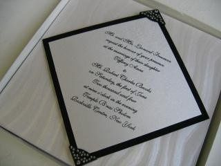 Dimensional invitation in a box with decorative rhinestone corners