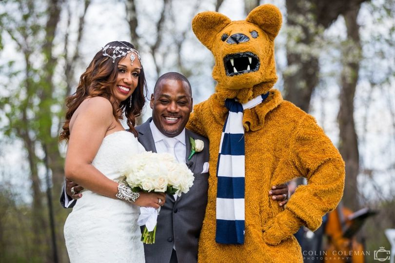 Newlyweds and a mascot