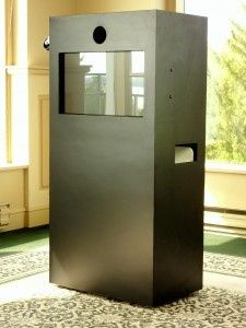 Here is the box that holds all of our photo booth magic! The touch screen operating system allows...