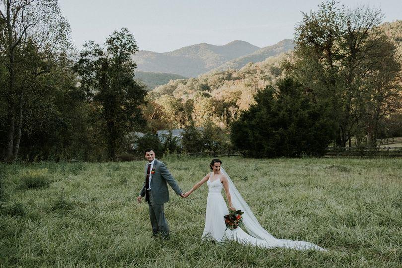 Couple in Fields in Asheville