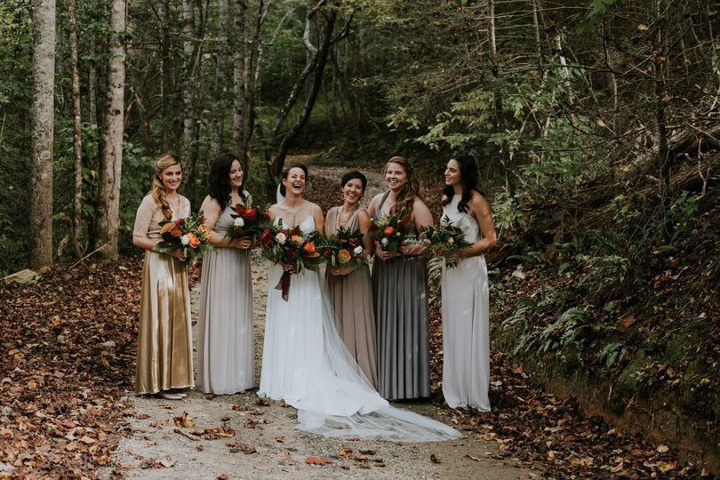 Asheville Bridesmaids in Woods