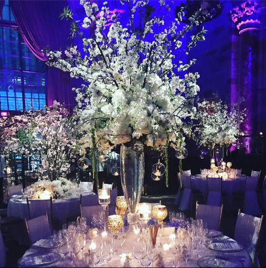 Table setup with beautiful flower centerpiece