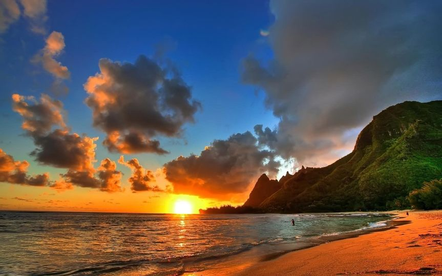 5f05edab753a1b32 hawaii usa ocean sand mountain sky cloud sunset