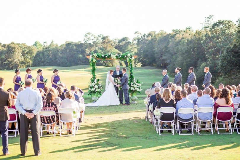 A driving range wedding