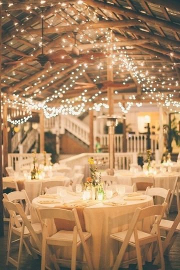 We love the twinkle lights!   For this evening barn wedding in the lowcountry we provided chairs,...
