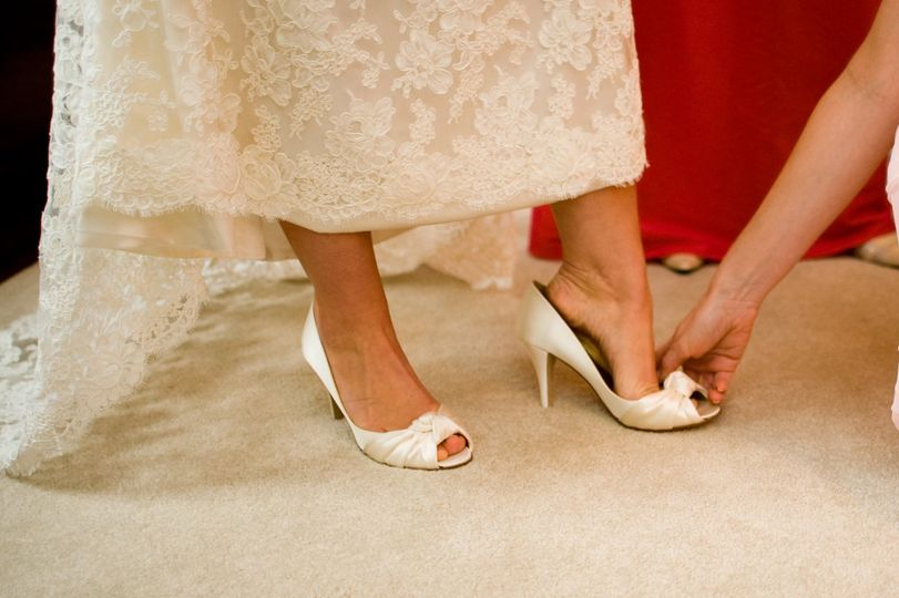Slipping on the bridal shoes